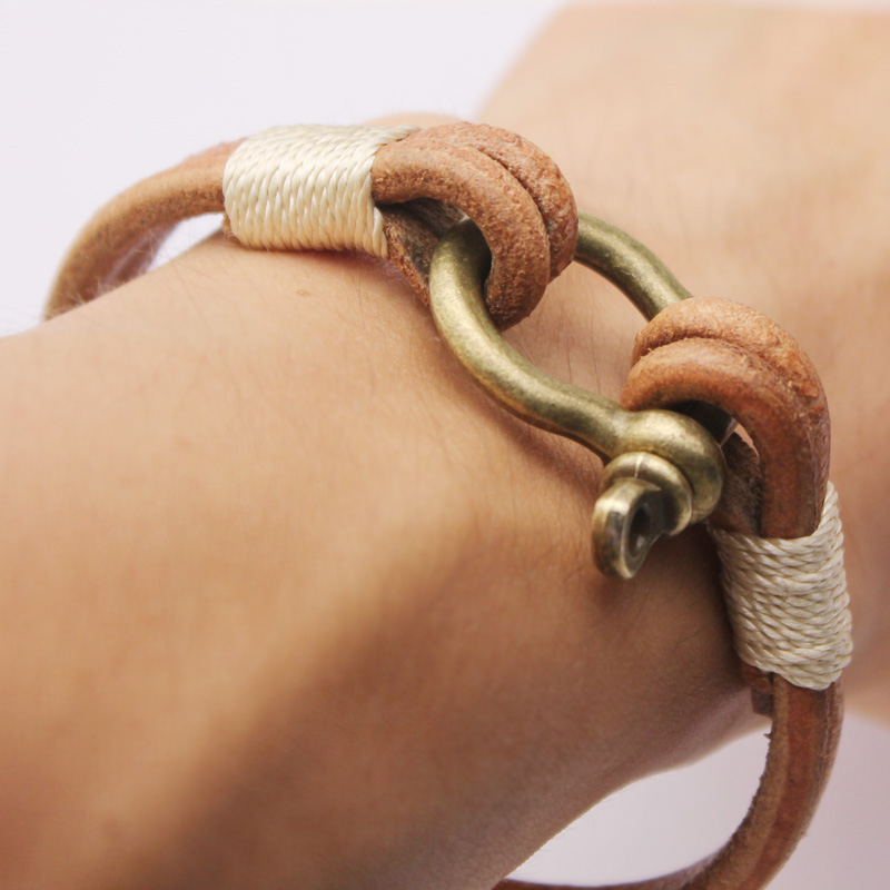European simple punk handmade horseshoe charm bracelet bangle wristband cuff brown leather bracelet for man women fashion jewelry wholesale