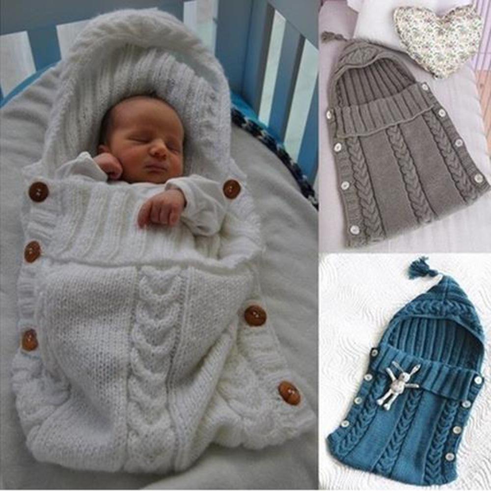 Manta Bebe Recien Nacido Bolsa de Dormir de Invierno Tejer Calentar Saco De Dormir Envoltura De Cochecito para Bebe