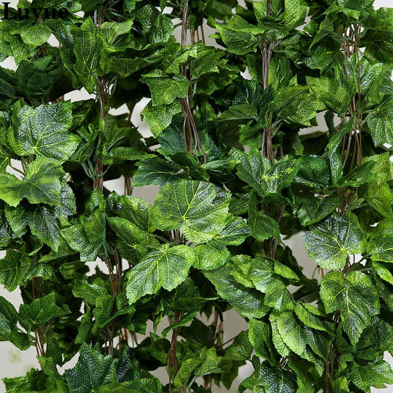 12 Pcs Int/érieur Exterieur Plante Guirlande plantes artificielles de vigne fausses fleurs Feuille de raisin suspendue guirlande Decoration Deco Maison Mariage/…/… Feuille de raisin Plante Artificielle
