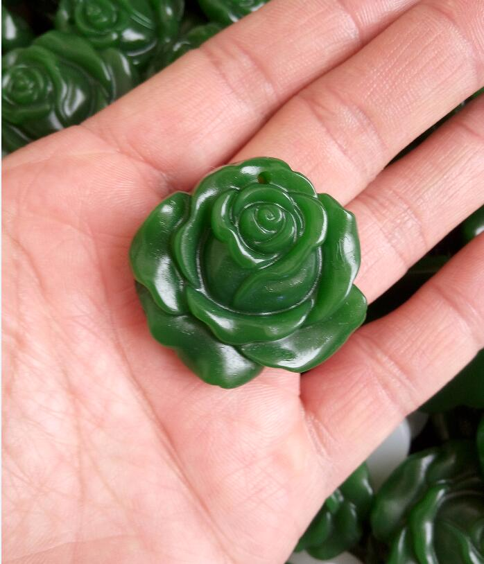 Chinese natural jade hand-carved exquisite jade orchid flower good luck pendant