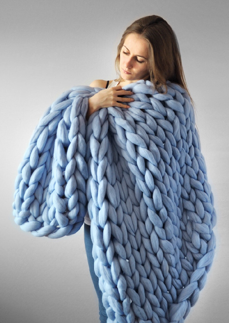 60*60cm 100*80cm Warm Chunky Knit Blanket Thick Woven Yarn Wool Bulky Knitted Throw Kinitted Throw Photograph Blanket