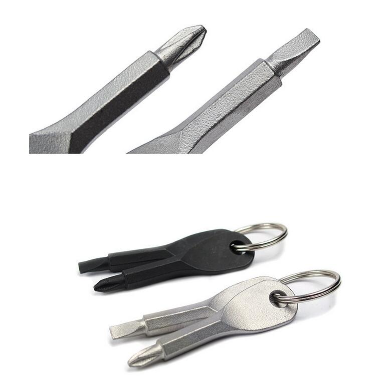 2in1 Outdoor Camping Hiking Pocket Gear Key Screwdriver Tool Keychain Keyring
