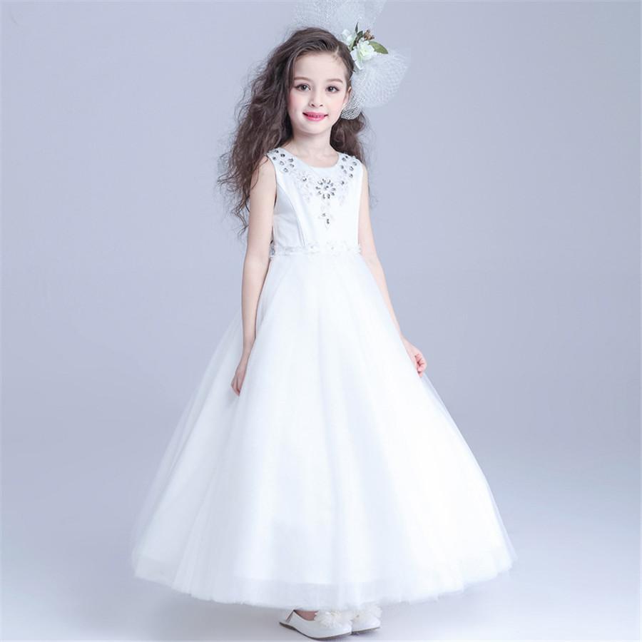 prinzessin vintage perlen arabisch blumenmädchenkleider weißes kind kleider  schöne geburtstag blumenmädchen brautkleider