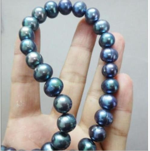 """Nouveau 9-10 mm BAROQUE DE TAHITI Bleu Noir Collier De Perles 18/"""""""