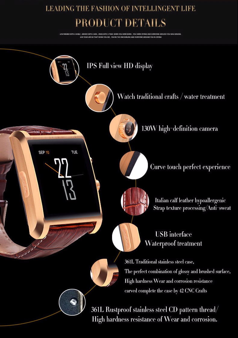 smart watch 2016 cell phone smartwatch wearable devices fitness tracker heart rate monitor electronics reloj inteligente health android wear Wristwatch google top octopus apachie bluetooth Real time step (4)