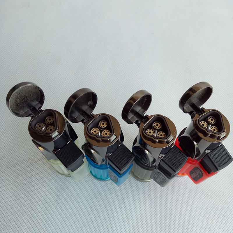 3 torches Windproof Triple Jet Flame Torch Cigar Lighter Refillable Butane Cigarette Lighters NO Gas For Smoking pipe Tools