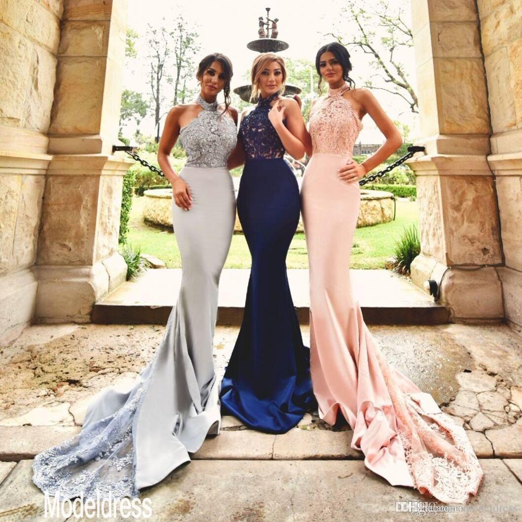 20 neue Design Silber Erröten Spitze Brautjungfernkleider Halter Backless  Meerjungfrau Lange Marineblau Formale Hochzeitsgast Kleid Party Kleider