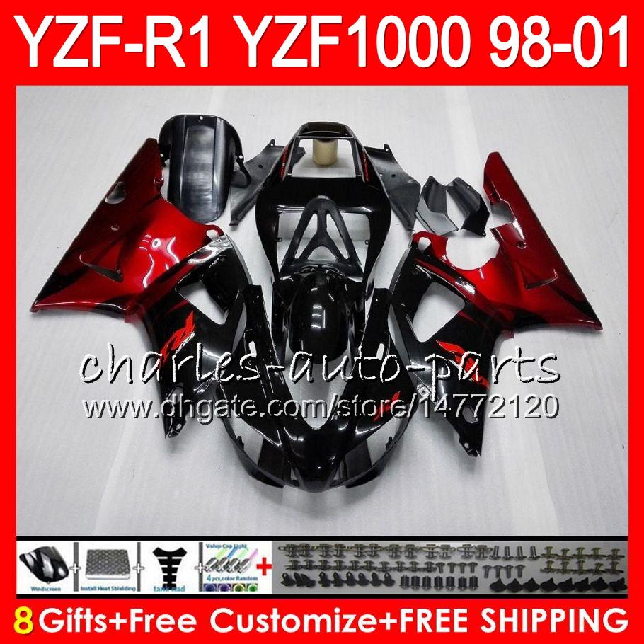 Espejos retrovisores Laterales Integrados para Motocicleta Yamaha YZF R1 YZF-R1 YZFR1 2007-2008 Sport Bike con 2 Piezas de Espejo de pl/ástico Negro