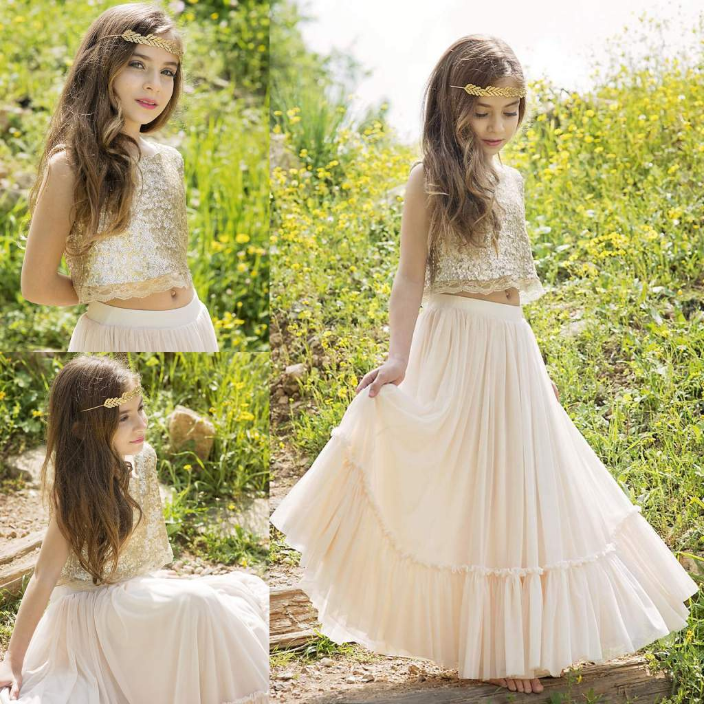 Champagne Sequined Two Pieces Flower Girls Dresses For Wedding A-Line Junior Bridesmaid Dress Floor Length Chiffon First Communion Gowns