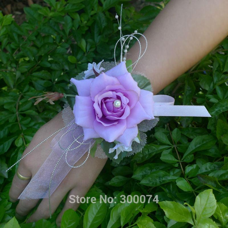 Purple blue wedding corsages