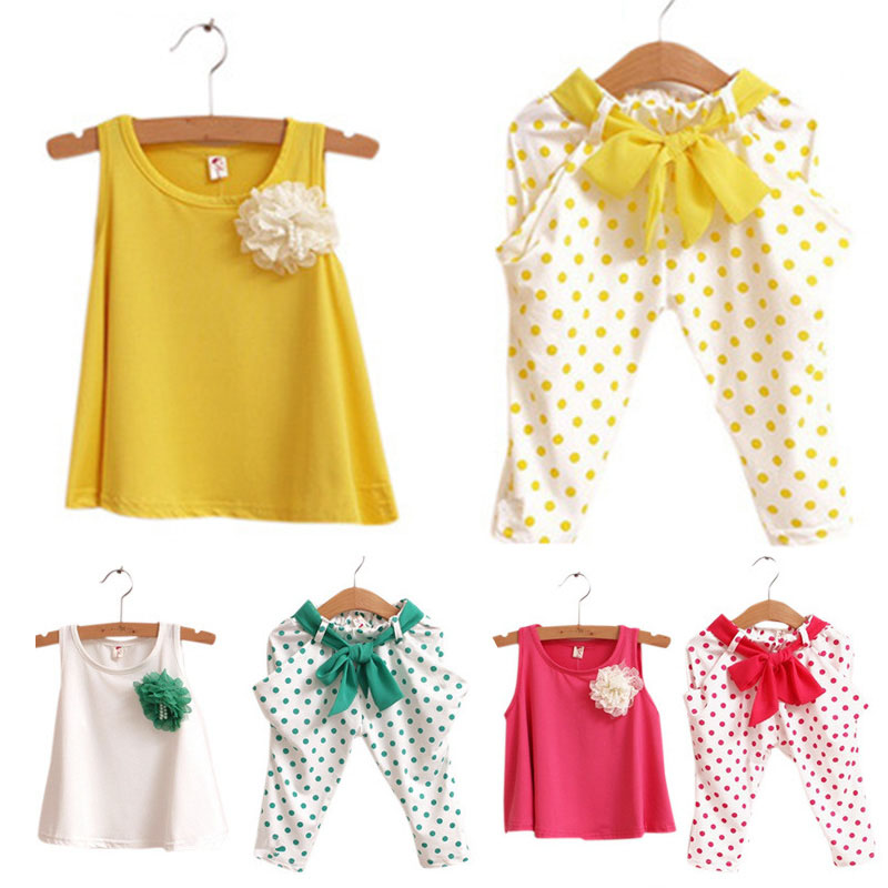 Girls Casual Two-piece Suits Leisure Sleeveless Sweater Capri Pants Cute Dots Flower Wave Point Printed Pants Leisure Suit LG2017
