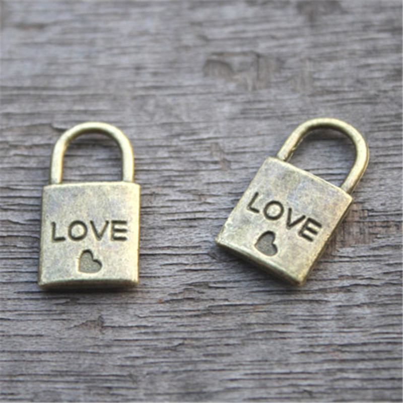 20pcs Lock Charms Bronze tone Lock with Heart Charm Pendants 20x10mm