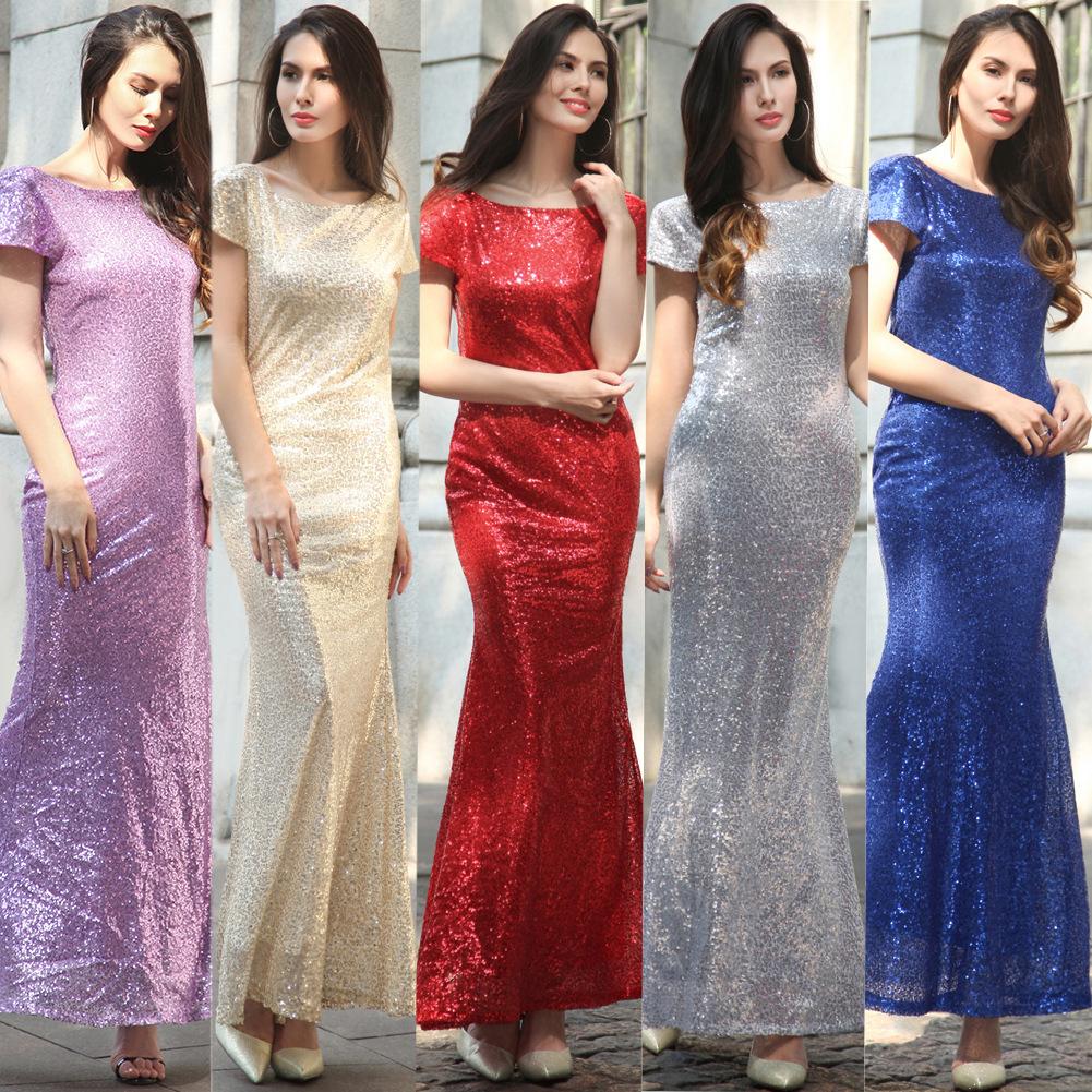 Frauen Oansatz Kurzarm Pailletten Elegant Abend Cocktail Brautjungfer Party  Clubwear Mermaid Maxi Kleid Größe S M L XL XXL RY10