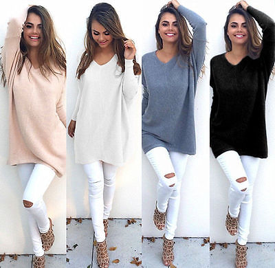 UK Women Plunge Neck Knitted Jumper Ladies Oversized Baggy Sweater Pullover Tops