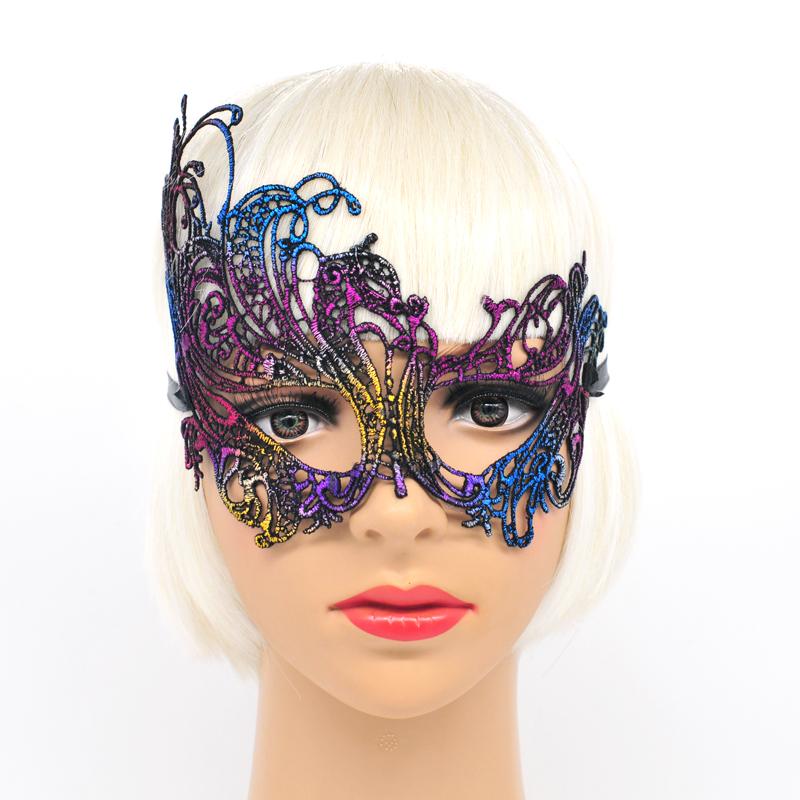 Donna Rosa Nero masqeurade Palla Occhi Maschera Con Piume Costume Veneziano