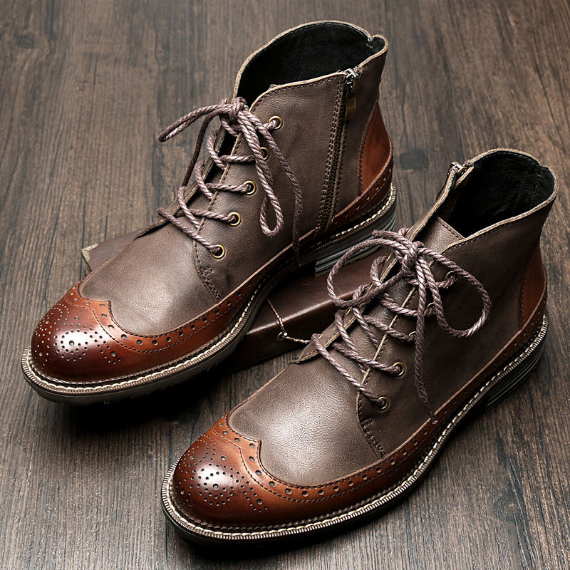 US6 9 Mens Genuine Leather British Style Lace Up Wing tips Martin Boots Casual Winter Formal Dress Oxfords Fretwork Boots Brogue Shoes