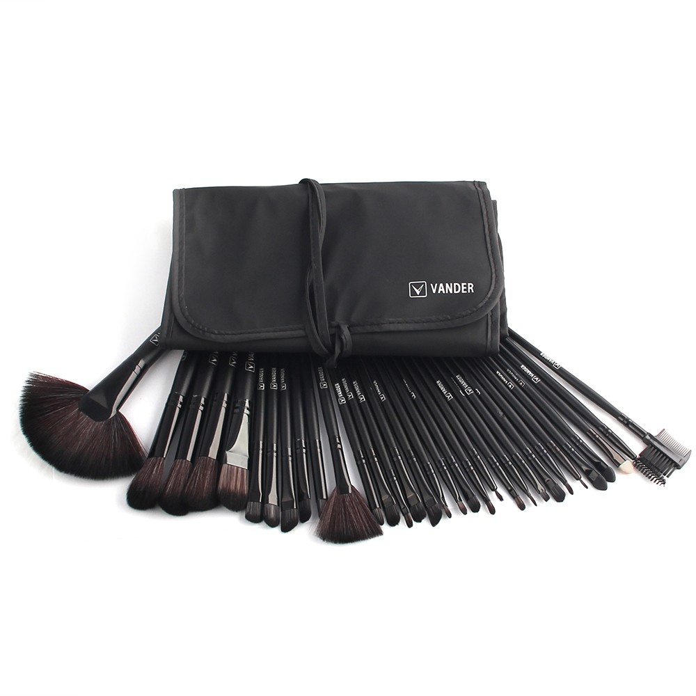 48hours Shipping, 32pcsset Black Profeesional Makeup Pinsel Face Lip Foundation Powder Cosmetic Make-up Kit + Pouch Bag (32)