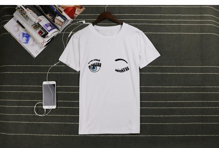 Fashion Summer Cotton Women T Shirts Chiara Ferragni Big Eyes Embroidery Sequins Loose Style T Shirts Women Casual Tops CS3