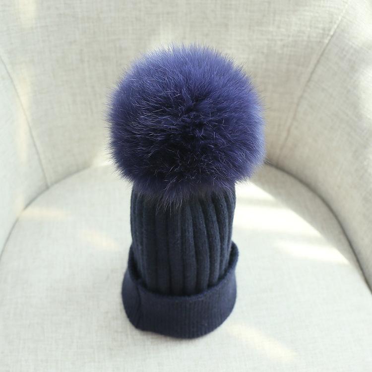pom poms wool rabbit fur knitted hat Skullies winter hat for women girls hat feminino beanies hat (7)