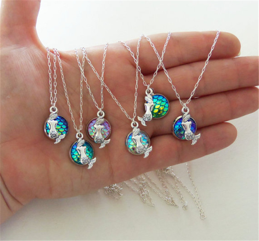 1 Stk Antik Legierung Meerjungfrau Skalenhaut Anhänger Charme Halskette Damen