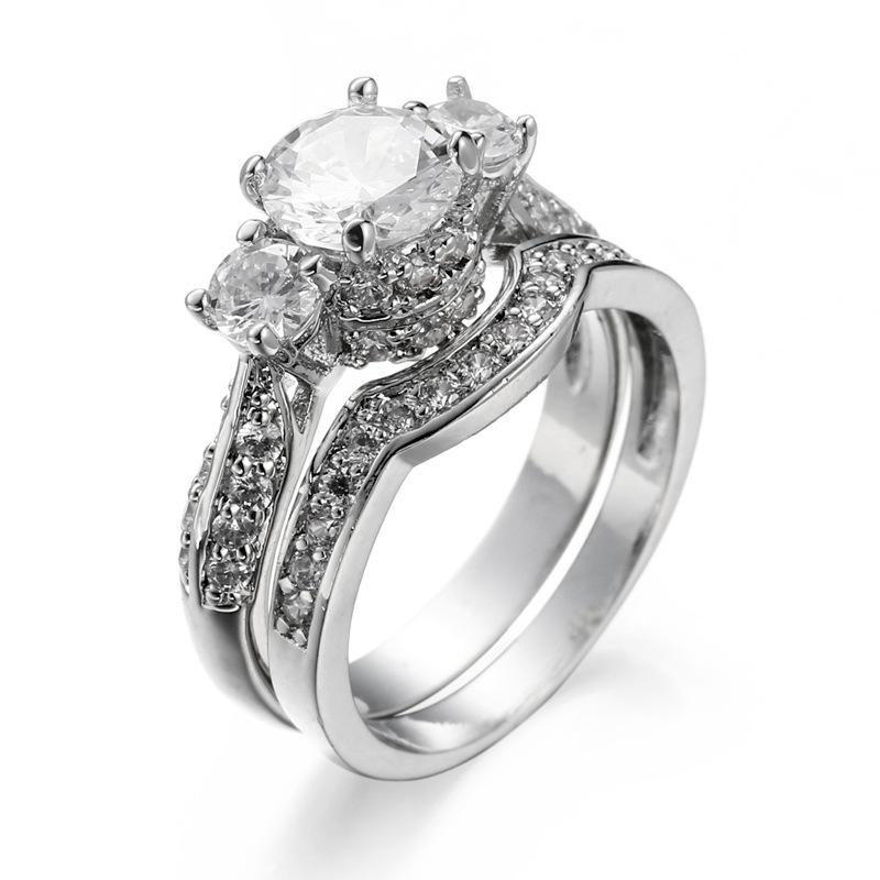 Doble anillo circonita knucklering 925 plata señora joyas silberdream gsr402wx