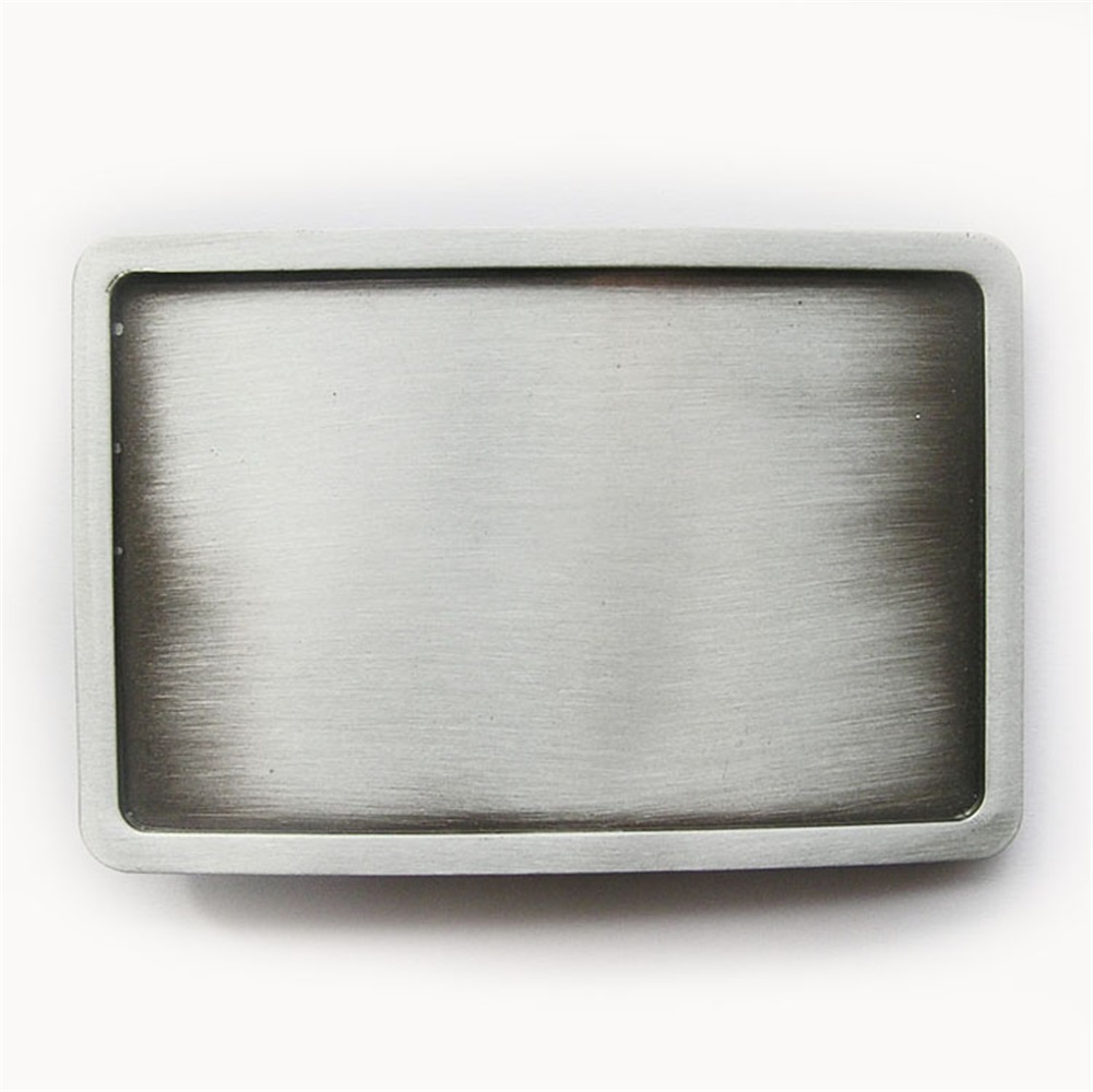 Antique Brushed Silver Round Blank  Metal Belt Buckle