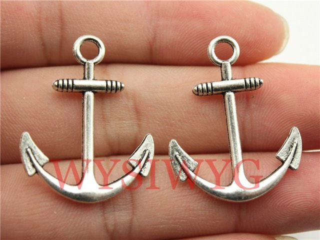 4Pcs Antiqued Silver Tone Shipping Anchor Charms Pendants 24x27mm