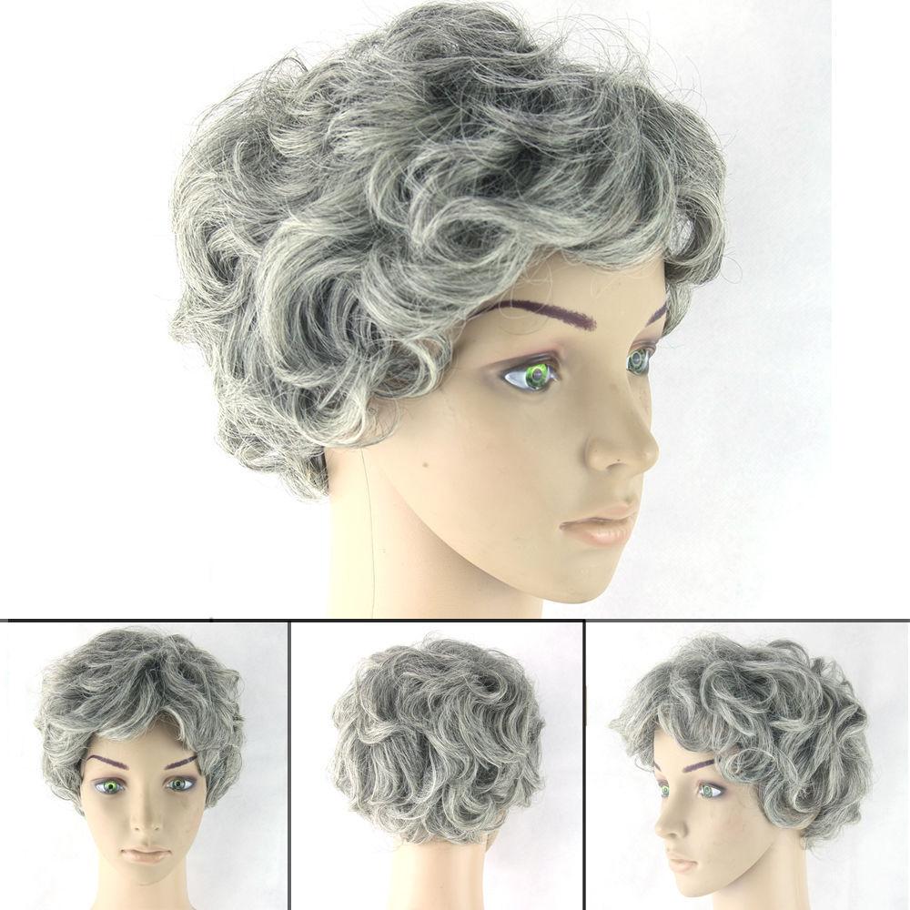 Women Old Lady Wig Curly Short Gray Hair Grandma Granny Cosplay Fancy Dress