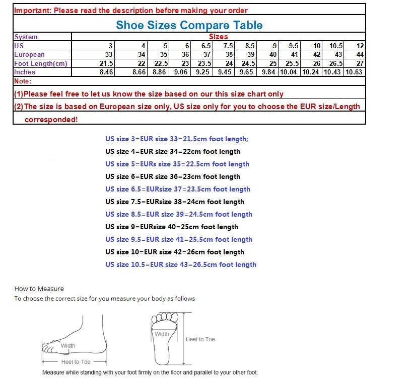 Shoe size table