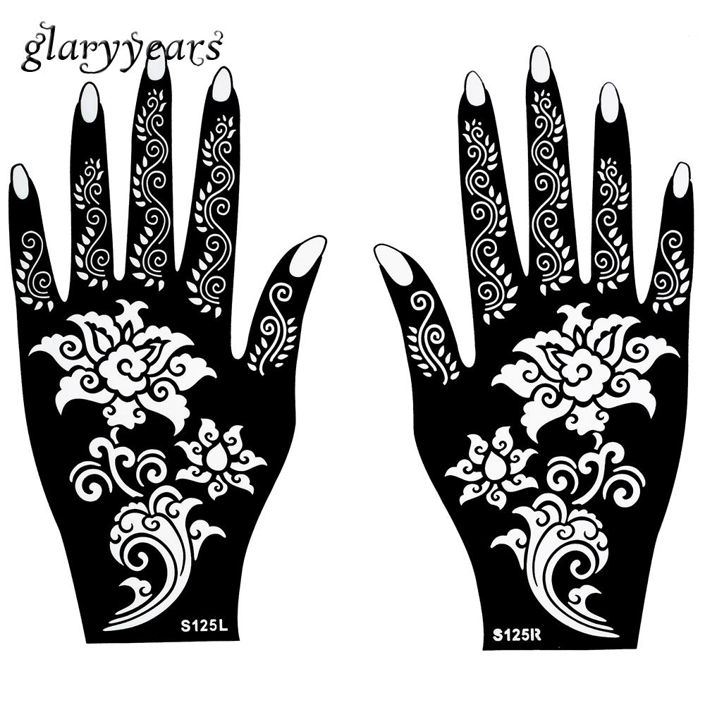 Como Hacer Un Diseño Para Tatuaje mayor-caliente 1 par de la alheña plantilla del tatuaje hermoso patrón de  flor de diseño para las mujeres cuerpo manos de mehndi arte del aerógrafo