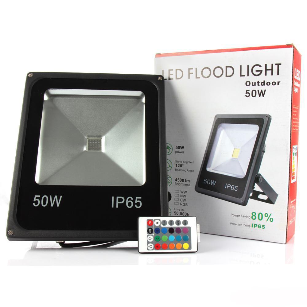 30W 50W 100W 220V LED Fluter Strahler RGB Außen Flutlicht mit Fernbedienung IP65
