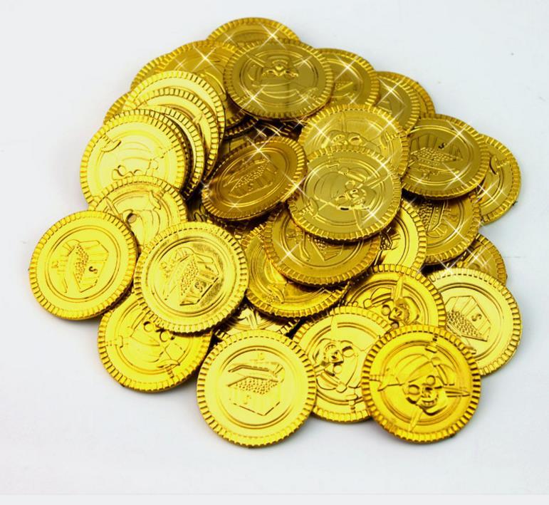 Pirata monete d/'oro COSTUME ACCESSORIO denaro di plastica Party Borsa Filler Goody