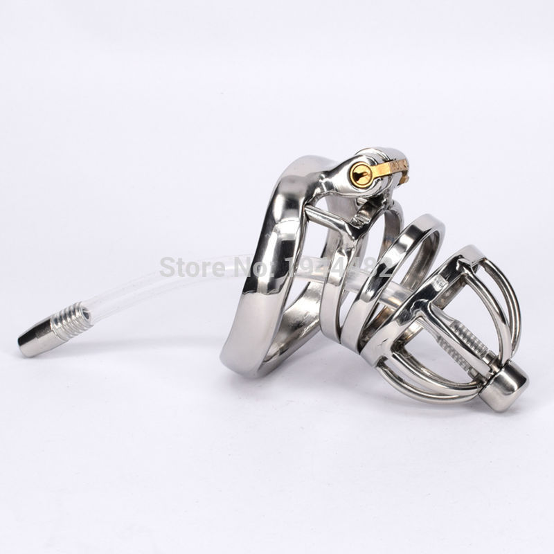 Stainless Steel Male Chastity Belt Penis Restraint Locking Cage with Urethral Insert Metal Cock Devices For Men Gay BDSM Fetish