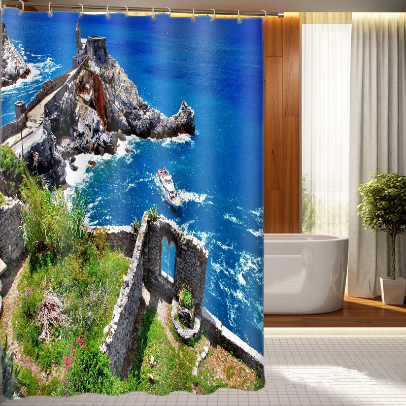 3D Digital Printing Summer Surfing Shower Curtain Surfboard in Vintage Style on Turquoise Wooden Mildew Resistant Fabric Decorations 70.8 X 70.8 inches