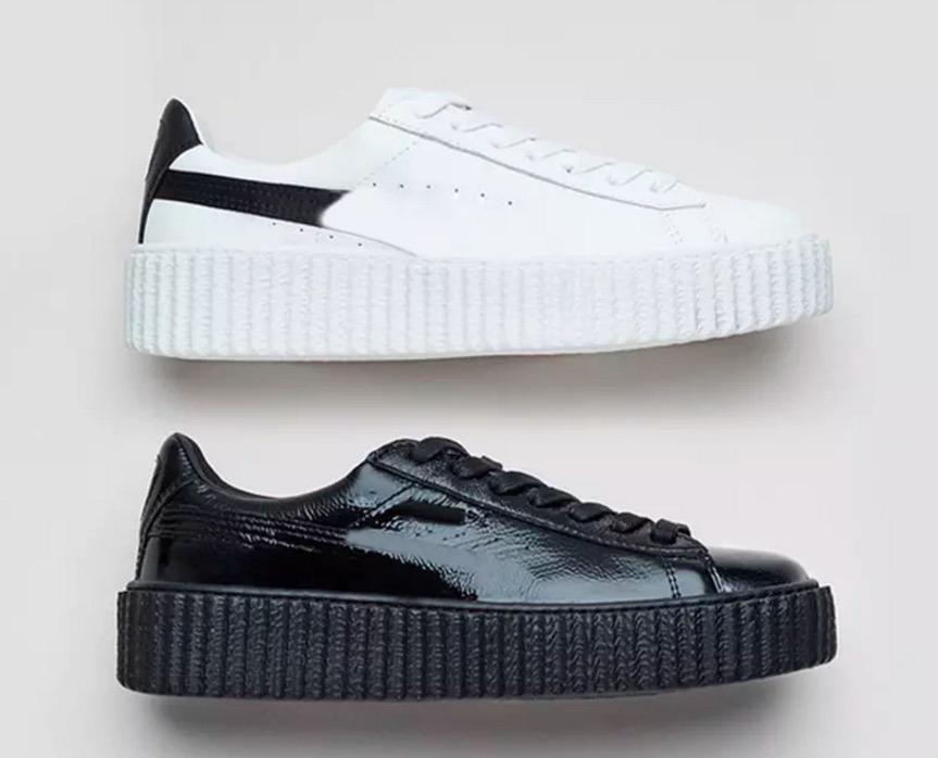Blac Pas Cher Remise Buty Fenty Rihanna Creeper Mode Hommes Femmes Noir Blanc Ridé En Cuir Verni Velours Occasionnel Chaussures Formateurs Taille
