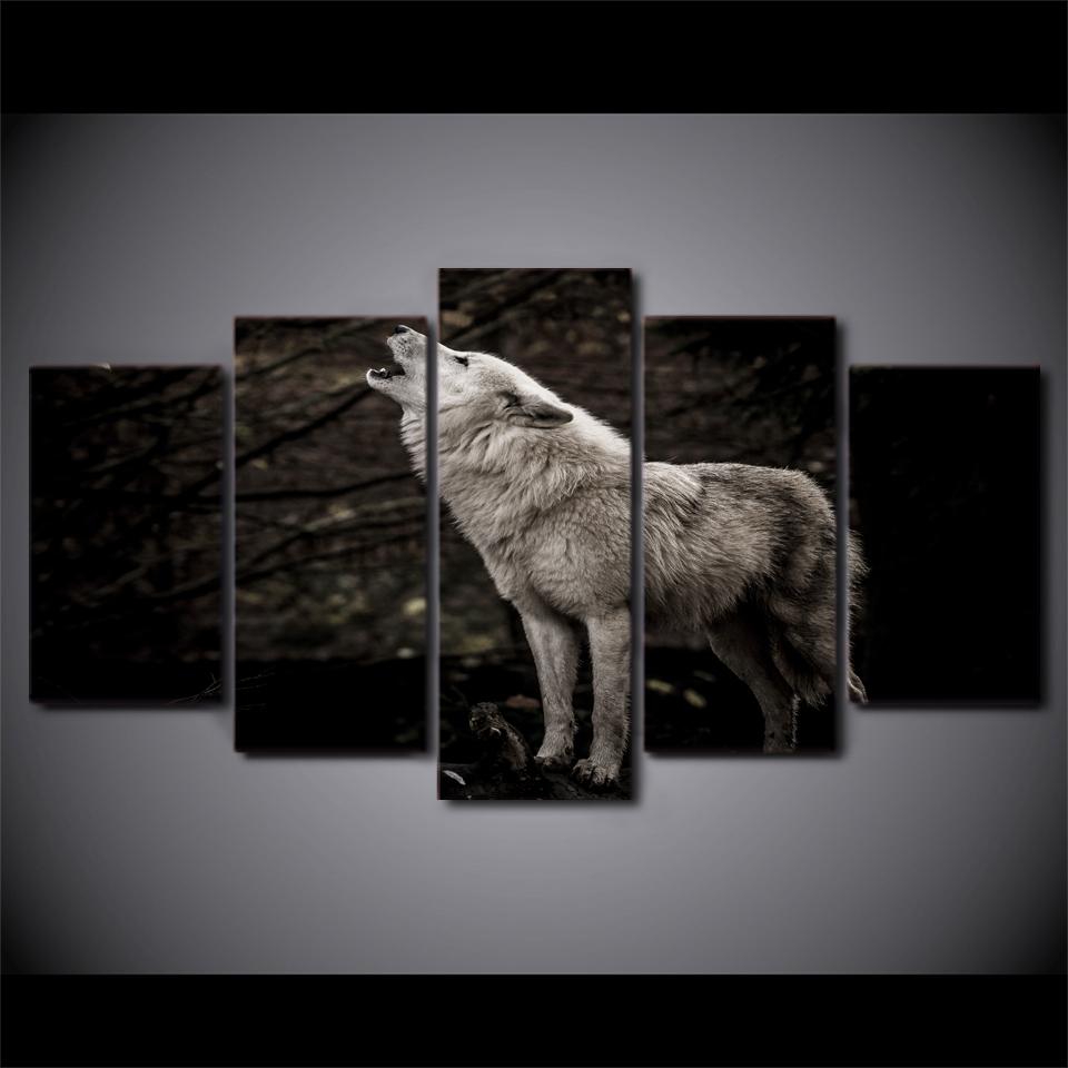 Wandbilder Wolf Leinwand Bilder Schwarz/&Weiß Wolf Kunstdruck Wand Hangend Dekor