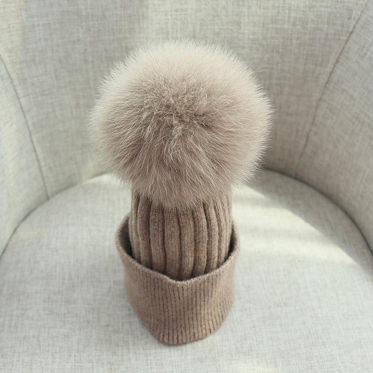 pom poms wool rabbit fur knitted hat Skullies winter hat for women girls hat feminino beanies hat (6)