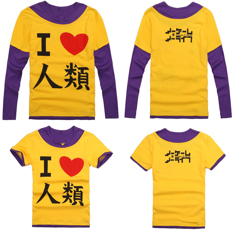 long sleeve Leisure cosplay costume 100/% cotton T-shirt No Game No Life Sora