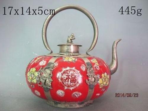Colecionáveis Bom Bonito Chinês à Mão Escultura Bule De Chá Coral Vermelho Macaco
