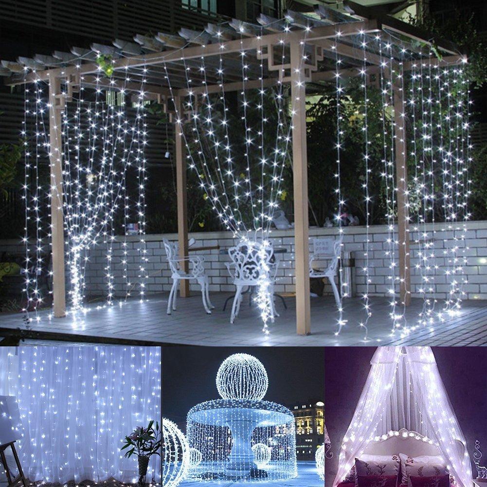 Deco De Noel Lumineuse Pour Fenetre le glaçon de rideau en fenêtre de 3 * 3m led allume 306 led 9.8ft 8 modes  ficelle guirlande lumineuse pour noël / halloween / mariage