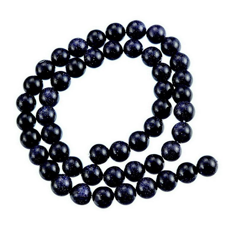 """Un azul oscuro Natural Piedra Preciosa Piedra Redonda dumoriterite diseño de joyas perlas 15/"""""""