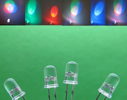 100Pcs Led Rgb Rainbow Fast Flash 2-Pins F5 5Mm Bulb Lamp Super Bright New Ic kr