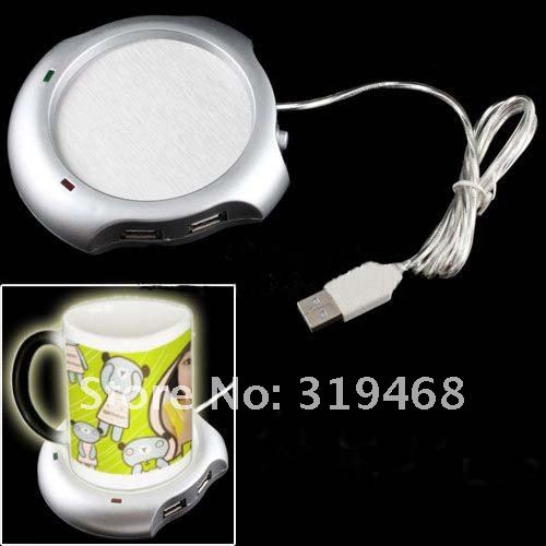 USB Mug Coffee Tea Cup Warmer Heater Pad with 4-Port HUB for Office PC Laptop Silver YESZ USB Cup Heaterwater Bottle
