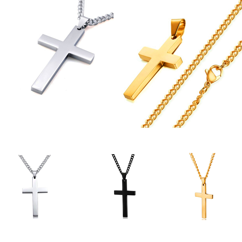 Blooming flowers Classic Vintage Bible Cross Necklace Fashion Personality Wild Men and Women Pendant Pendant