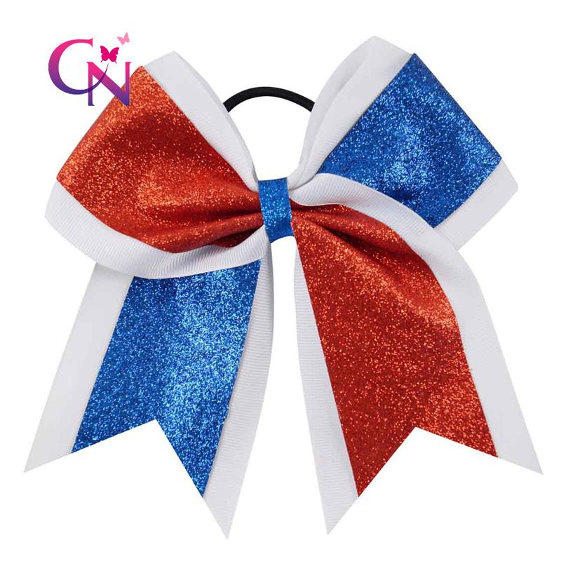 White cheer bows 3 inch big cheerleading hair bows cheap girl hairbows US seller
