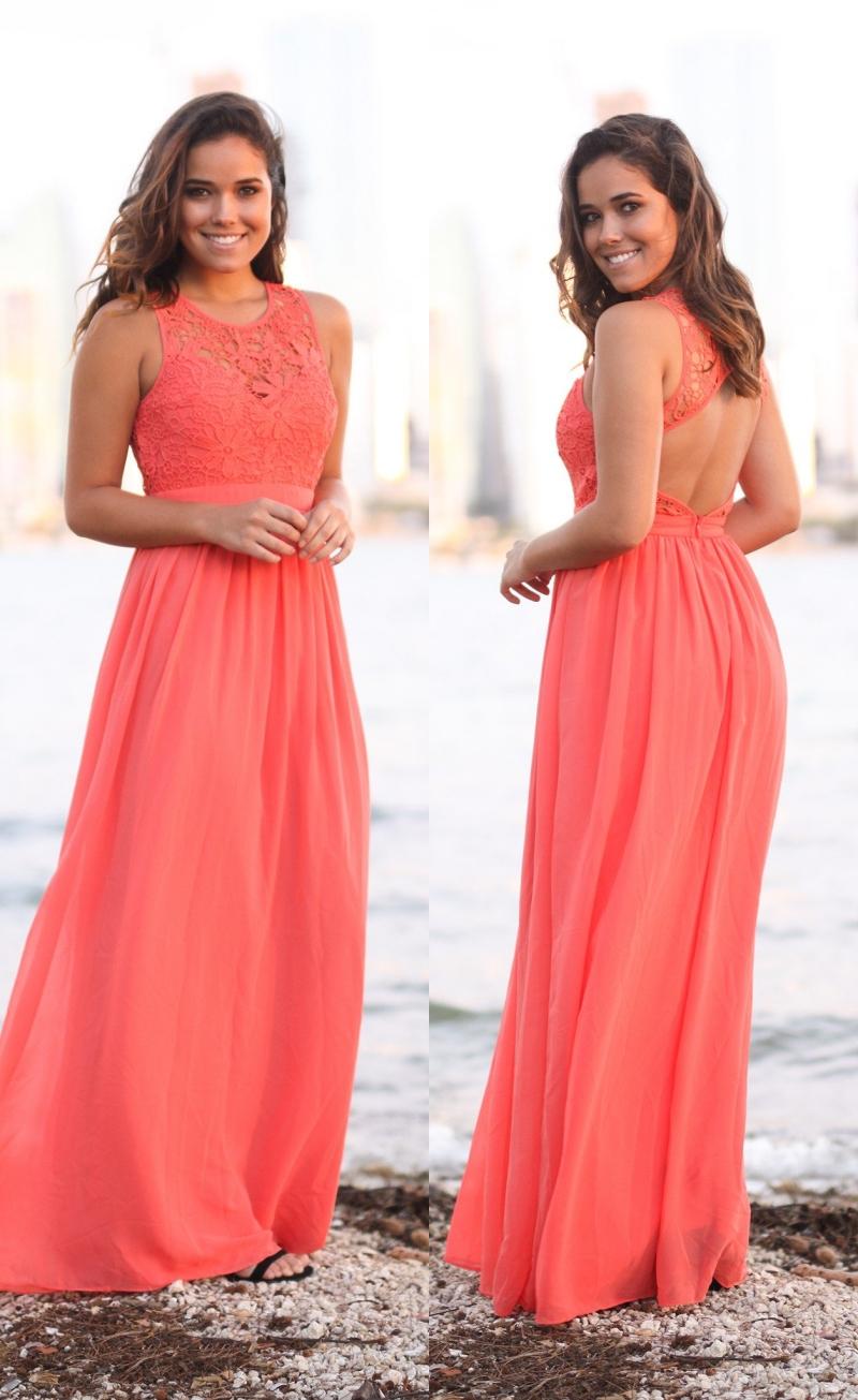 coral beach kleid for wedding