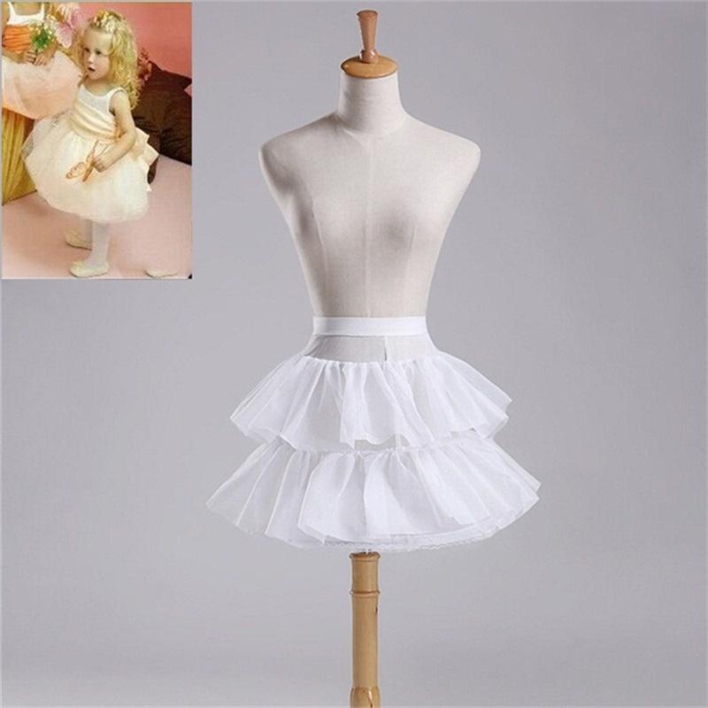 YiZYiF Kids Girls Crinoline Petticoat for Flower Girl Wedding Dress Underskirt Slip 2 Layer White