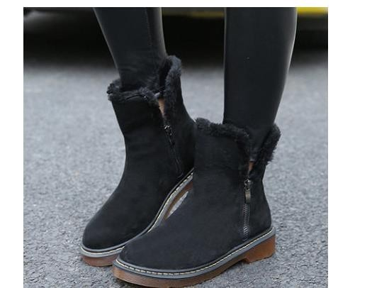 Fashion Natural Cow Suede Split Leather Womans Winter Snow Boots for Women Winter Shoes Warm Faux Fur Plush Zip High Quality Ankle Boots
