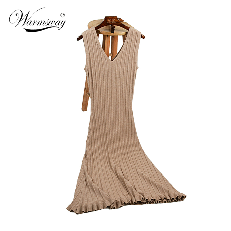 Autumn Women Long Sweater Dress Fall Sumner elegant big hemline Striped Bodycon V-neck Dresses Sexy Elastic ribbed Knitted C-230