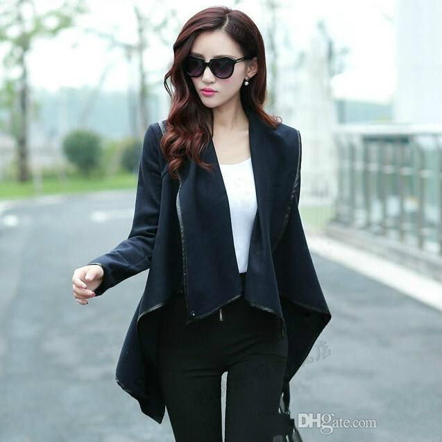 2016 Fall Winter Clothes for Women New European and American Wool & Blends Coats Ladies Trim Personality Asymmetric Rules Short Jacket Coats